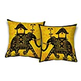 ShopMantra Indian Elephant Ethnic Art Printed Cushion Cover Buy One Get One (set Of 2) Size 16*16 Inch