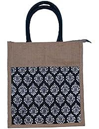 ABV Lunch Bag, Jute Bag, Designer Printed Bag, Medium Size (Black Color)