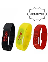 GT Gala Time Casual LED Combo Of 3 Digital Bracelet Jelly Slim Smart Unisex Black, Yellow & Red Watches