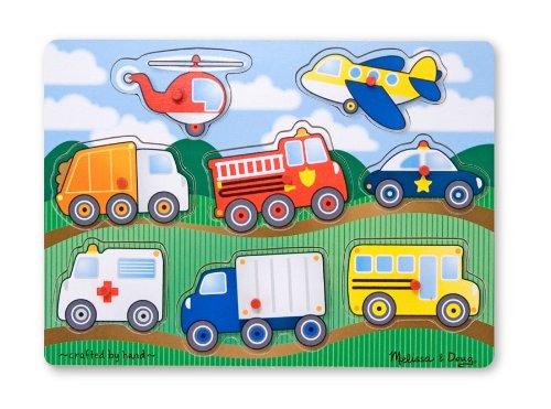 Melissa & Doug VEHICLES Wooden Peg Puzzle (Colorful Vehicles artwork, Extra-Thick Wooden Construction, 8Piece, 15.5