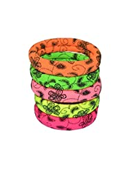 Indsights Trendsvilla Neon Collection Rubber Bands (Set Of 5) Floral