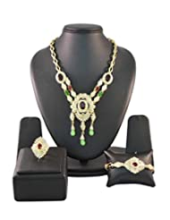 Multicolor Crystals Traditional Jewellery Set