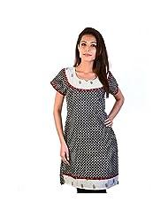 Jaipur RagaBlock Designer Black-White Ethnic Cotton Top Rajasthani Kurti