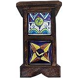 2 Drawer Handmade Chest Of Drawer Frame Multicolor Wooden Spice Box Masala Jar Rack Handmade Painting Pattern... - B01EFMOP4U