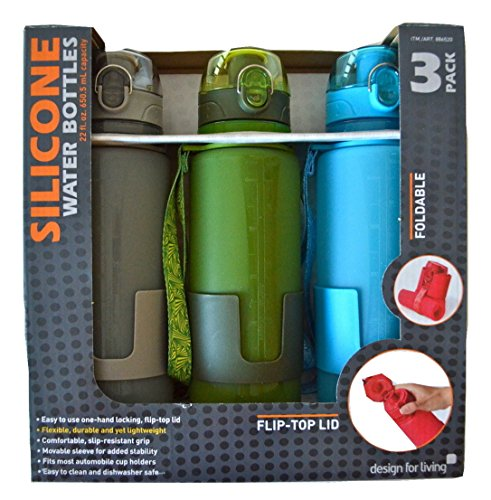 Design For Living Silicone Foldable Water Bottle With Flip-top Lid And Strap - 22 Ounce - Gray, Green & Blue 3...