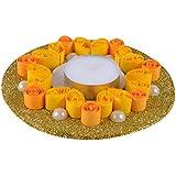 Ishu's Creation Wax, Quelling Paper & Pearls Decorative Tealight Candle (13 Cm X 13 Cm 2 Cm, Multi, Ish13_1,)