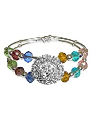 DollsofIndia White Stone Studded With Multicolor Bead Spring Bracelet - White Metal - White