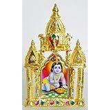 DollsofIndia Bal Gopal On Stone Studded And Golden Carved Metal Frame - Metal Frame - B00LD5SEQS