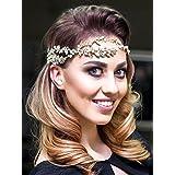 Bridalvenus Gold Wedding Headband Hair Band Rhinestones Hair Vine For Bride And Bridesmaids