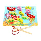 Early Educational Toys! Magnetic Fishing Toys! Children Fishing Toy,wooden Fish Tank,12 Removable Pi