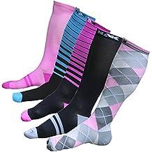 Graduated Compression Socks Men And Women 1 Pair Best For Running Nurses Crossfit Black/Blue Stripe Medium