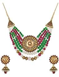 Mehek Design Multi-Color Metal Multi-Strand Necklace Set For Women (VD130)
