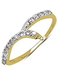 0.80 Grams White Cubic Zirconia Gold Plated Brass Ring