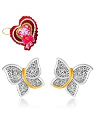 Mahi Flying Butterfly Stud Earrings With CZ With Heart Shaped Card For Women ER5109326GCd