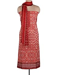Kalki Fashions Red And Cream Unstitched Suit Featuring With Embroidered Placket