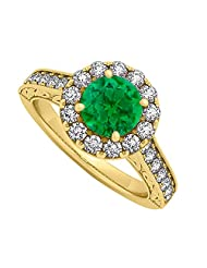 Emerald And CZ Halo Engagement Ring In 18K Yellow Gold Plated Vermeil Over 925 Sterling Silver