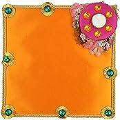 Festivities Satin Decorative Tray (28 Cm X 24 Cm X 28 Cm, FE04)