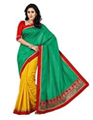 Mustard And Green Color Art Tusser Silk Saree With Blouse