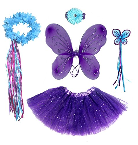 6 Pc Girls Dark Purple & Teal Fairy Set with Wings, Headband, Halo