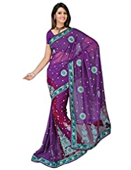 Sehgall Saree Indian Bollywood Designer Ethnic Professional Georgette Embroidery Fancy Saree Sari - B00OFO9H5Q