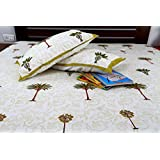 Jodhaa Double Bedsheet Set In Cotton Printed In White, Green And Brown With Green Border Coconut Tree Print