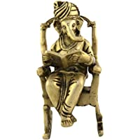 Rajasthan Emporium And Handicrafts Brass Ganesha On Rocking Chair Statue