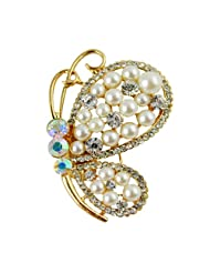 Silver Shoppee Playfulness 21K Yellow Gold Plated Cubic Zirconia And Pearl Studded Alloy Brooch