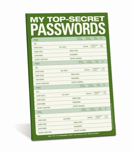 My Top Secret Passwords notepad