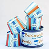 Bakewala Muffin Paper Cups - Blue And Orange Stripe 13.5 Cm - 30 Pieces