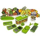 Kohinoor Multi Vegetable Chopper Cutter Fruit Slicer (Green & White) - 12 In 1