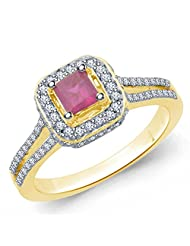 Eldora 18 Kt Gold Plated With American Diamond Ring For Women(PRG00123-A)
