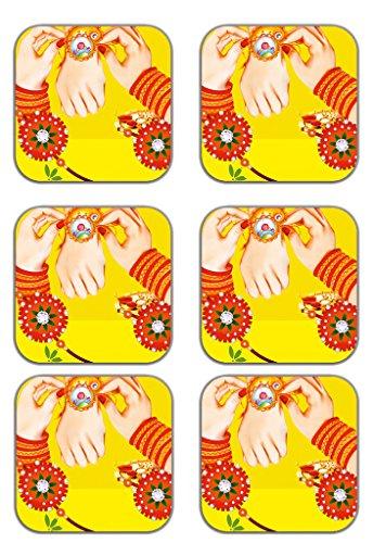 MeSleep Rakhi Wooden Coaster-Set Of 6 - B013LETNAE