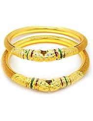 MULTI COLOR PEACOCK MEENAKARI KUNDAN GOLD PLATED BANGLES SET FOR WOMEN SIZE 2.4