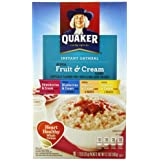 Quaker Instant Oatmeal Fruit & Cream, Variety Pack, 10-Count Box