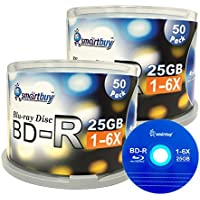 Smartbuy 25gb 6x Bd-r BDR Blu-ray Single Layer Logo Blank Data Recordable Media Disc Spindle Pack 100-Disc 100...
