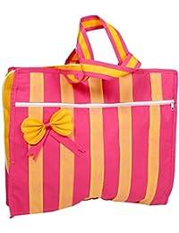 KK Polybags Women's Saree & Cosmetic Bag (Pink & Yellow) (Impressive_22)