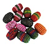 Beads Lot / Knitted Oval Shape Beads Mixing Set Of 12 Assorted Color Pieces.