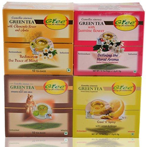 GTEE Green Tea Bags-Chamomile & Green Tea Bags - Lemon & Ginger & Green Tea Bags-Jasmine & Green Tea Bags - Ginseng...