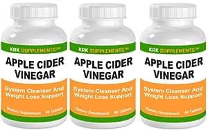 Amazon.com: 3 Bottles Apple Cider Vinegar 600mg Per