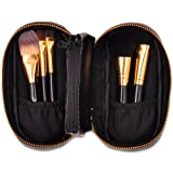 Professional 5 Pcs Cosmetic Makeup Brush Set With Double Zipper Leather Case