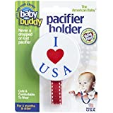 Baby Buddy I Love USA Pacifier Holder For Babies, 4 Months And Up, Red