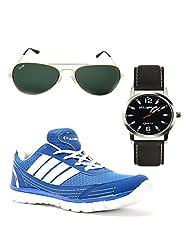 Elligator Stylish Blue & White Sport Shoes With Belt & Wallet For Men's