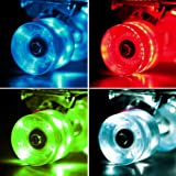 Set of 4 LED Light-up Skateboard Wheels with ABEC-7 Bearings - Smoother Quieter Ride - 60x45mm
