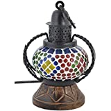 Rajkruti Handicraft Wooden Glass Mosaic Wall Hanging Table Lamp Show Piece (12 Cm X 9 Cm X 18 Cm,WH255)