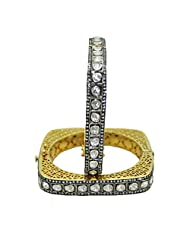 Gehna White Sapphire Rose Cut Polki Studded Pair Of Bangles Made In .925 Solid Silver