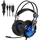 ROSE SADES A55 Over-ear Wired Stereo Gaming Headset For PC Gamer 3.5mm Jack LED Indicator Lightweight And Comfortable... - B01FI9JMCY