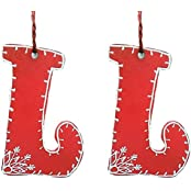Purpledip Wooden Christmas Stockings Hangings Set Of 2 (4 Inches)