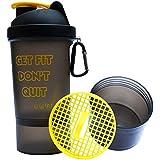 Sarva Shake Brainy Protein Shaker Bottle 500 Ml (Yellow/BlackSS-C1-104) With Strainer