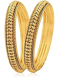ESHOPITUDE INDIAN FESTIVEL WOMEN DESIGN TRENDY GOLD PLATED BANGLES SET FOR WOMEN SIZE 2.6