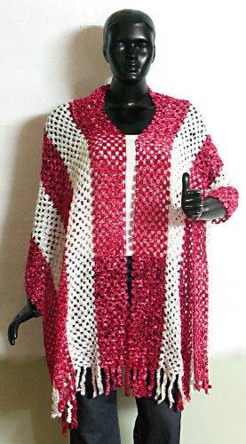 Rose Pink And White Fancy Silk Thread Stole - Silk Thread